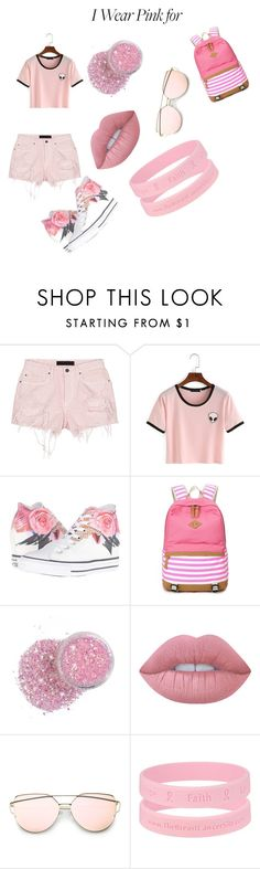 """I WEAR PINK FOR MY BFF"" by itsmejustme-1 ❤ liked on Polyvore featuring Alexander Wang, Converse, Lime Crime and IWearPinkFor"
