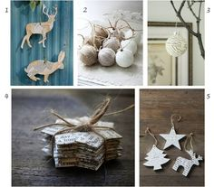 Paper and linen ornaments for Xmas