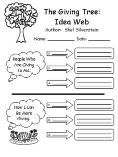 Giving Tree Lesson Plans: Shel Silverstein The Giving Tree Shel Silverstein Idea Web Worksheet Creative Writing Lesson PlansThe Giving Tree Shel Silverstein Idea Web Worksheet Creative Writing Lesson Plans Elementary School Counseling, School Social Work, School Counselor, Elementary Schools, Elementary Science, Writing Lesson Plans, Writing Lessons, Writing Promps, Lesson Planning
