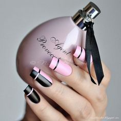 Accurate nails Black and pink nails Business nails Elegant nails Exquisite nails Feminine nails Long nails Nail art stripes Black Nails, Pink Nails, Gel Nails, Nail Polish, Pink Polish, Rose Nails, Pink Nail Designs, Best Nail Art Designs, Nails Design