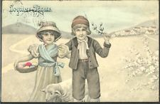 HR057 VK VIENNE Nr4027 Easter Paques COUPLE ENFANTS MOUTON LAMB Coloured EGGS