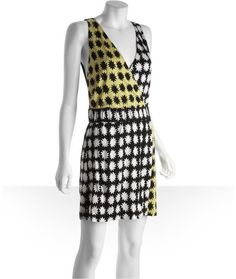 Diane Von Furstenberg    Black and Yellow Sunburst Print Silk Jersey Knit Fuax Wrap Morkio Dress