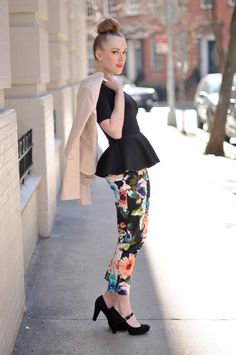 peplum shirt, printed pants and a bun...LOVE!!