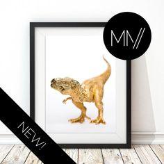 Modern Nursery Print Gold Dinosaur Print Baby room by ModMenage