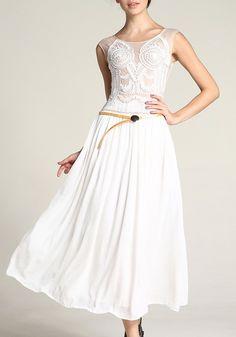 White Patchwork Embroidery Falbala Belt Sleeveless Chiffon Dress - Maxi Dresses - Dresses