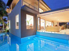 Amazing wrap around pool at holidayhousegoldcoast.com Australia Travel, Coast Australia, Gold Coast, Pacific Ocean, 50th, Mansions, Luxury, House Styles, Outdoor Decor