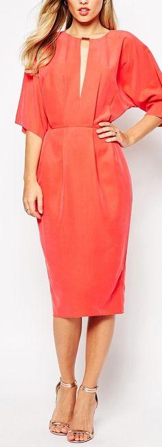 ASOS Orange Cupro Pencil Dress - Shop for women's Dress - Orange Asos, Womens Dress Suits, Pencil Dress, Fashion Online, Hot Pink, Cold Shoulder Dress, Bridesmaid Dresses, Dresses For Work, My Style