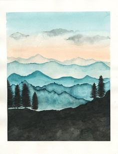 Mountain landscape watercolor painting inspiration