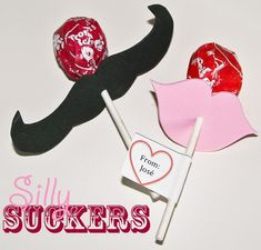 Silly sucker mustache and lips valentine - cute party idea!