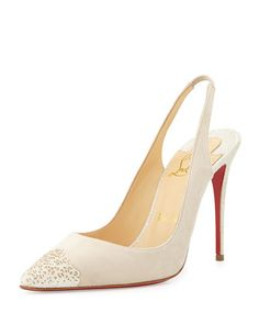 Almine Cutout Glitter Cap-Toe Red Sole Slingback, Ivory by Christian Louboutin at Bergdorf Goodman.