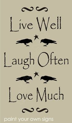 Country Home STENCIL Live Well Laugh Love Much Crow Star Scroll Primitive Signs | eBay: