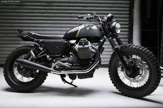Venier Customs Moto Guzzi Tractor 02 - Motorcycle USA - Stone, the Tractor 02 is inspired by one of Venier's previous projects, the V75, in which he transformed a '90's era Italian police-force NTX 750 into a militarily-styled scrambler.