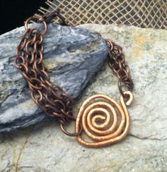 Rustic Hammered Copper Coil Bracelet Copper by EarthyByDesign