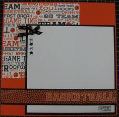 scrapbook art designs: Basketball Pages w/Tracy - February 8x8 Scrapbook Layouts, Scrapbook Sketches, Scrapbook Paper Crafts, Scrapbook Supplies, Scrapbook Cards, Scrapbooking Ideas, Scrapbook Organization, Scrapbook Templates, Baby Scrapbook