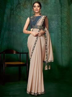Peach Silk Plain Saree with Floral Embroidered Lace