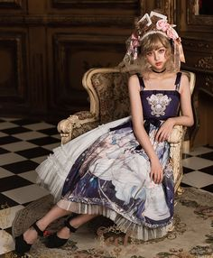 CEL Lolita Studio -The Sleeping Beauty- Lolita Jumper Dress Version II,Lolita Dresses, Quirky Fashion, Kawaii Fashion, Lolita Fashion, Cute Fashion, Fashion Outfits, Girls Petticoat, Fantasy Dress, Japanese Street Fashion, Jumper Dress