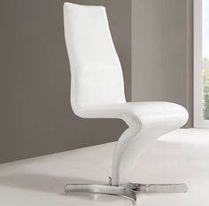 Naples Z Shape White Faux Leather Modern Dining Chair