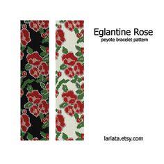 Eglantine Rose Peyote Bracelet Pattern INSTANT by lariata