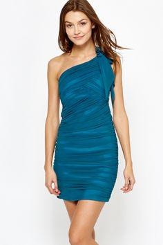 Asymmetric Ruched Bodycon Dress