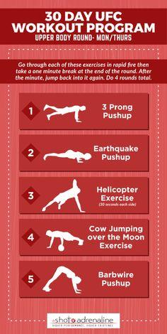 The 30 Day UFC Workout Program - pinnereign Calisthenics Workout Plan, Full Body Bodyweight Workout, Fighter Workout, 30 Day Ab Workout, Kickboxing Workout, Workout Schedule, Workout Challenge, Body Weight Workouts, Speed Workout