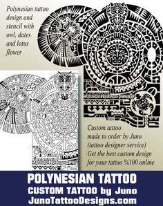 polynesian tattoo,tattoo template, samoan tribal template, owl, lotus…