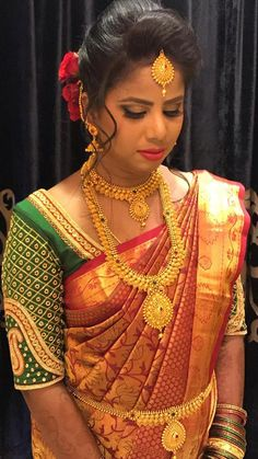 Shalini looks ravishing for her reception ceremony. Makeup and hairstyle by Vejetha for Swank Studio. Indian Christian bride. Bridal jewellery. Silk saree. Saree blouse design. Coral lips. Bridal hair. Indian bridal makeup. Bridal MUA in Bangalore.