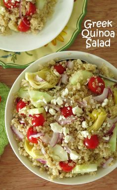 Greek Quinoa Salad topped with feta cheese - this healthy recipe is sooo easy to make and it's a crowd pleaser too! Naturally gluten-free!