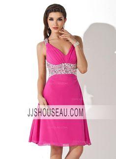 A-Line/Princess Chiffon Regular Straps Knee-Length Cocktail Dress