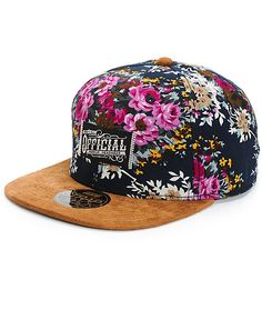 Grab a unique street style with a Grandmas couch floral print crown and a contrasting brown suede bill.