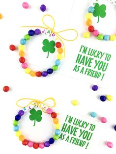 St. Patrick's Day Free Printable For Kids | Come by to learn how to make this super simple rainbow bracelet and then download a cute free printable to tie it all together!