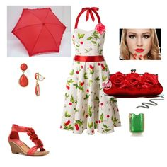 Lovely cherry blossom dress in this Garden Party #outfit #fashion #contest #gardenparty