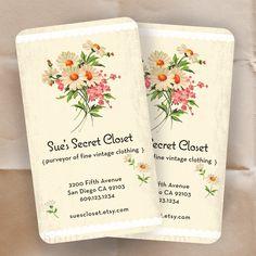 Business Cards or Shop Cards - 50s VIntage Floral Fabric - Shop Cards - 100 Custom Cards. $60,00, via Etsy.