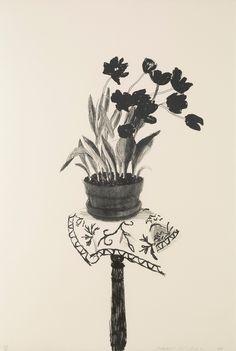 From Mary Ryan Gallery, Inc, David Hockney, Black Tulips Lithograph, 44 × 30 in David Hockney, Robert Rauschenberg, Pop Art Movement, Black Tulips, Yellow Roses, Pink Roses, Jasper Johns, Andy Warhol, Art Plastique