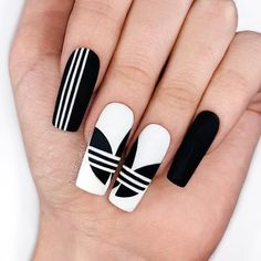 These Adidas nails by are 🔥🔥🔥 Use our Velvet Matte gel top coat for a long lasting matte finish that's soft to the touch! Black And White Nail Designs, Black And White Nail Art, White White, Nail Swag, Gucci Nails, Black Coffin Nails, Best Acrylic Nails, Matte Gel Nails, Matte White Nails
