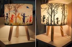 When we visited the Life Instyle trade show in Sydney last week, the Mum's Grapveine team were stopped in their tracks by these stunning lamps… Kid Spaces, Lamp Shades, Wood Veneer, Little People, Easy Diy, Arts And Crafts, Silhouette, Crafty, Matilda