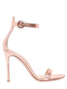 GIANVITO ROSSI 100MM PORTOFINO METALLIC LEATHER SANDALS, POWDER PINK. #gianvitorossi #shoes #sandals