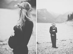 Maternity photo. Black dress with flowers crown