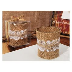 Lace And Burlap Rustic Candle Holder ($2.29) ❤ liked on Polyvore featuring home, home decor, candles & candleholders, rustic home decor, lace candle holder, rustic candle holders, burlap home decor and burlap candle holders
