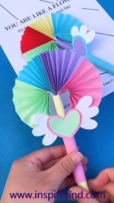 Paper Flowers Craft, Paper Crafts Origami, Diy Crafts For Gifts, Paper Crafts For Kids, Diy Arts And Crafts, Creative Crafts, Preschool Crafts, Fun Crafts, Summer Crafts