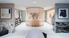 The Daily Edited's new Sydney store is actually just a really chic apartment, complete with a round bed lounge, a freestanding bath, pink walls and marble detailing. Round Beds, Luxury Store, Apartment Chic, Vogue Living, Bohemian House, Girl Bedroom Designs, Southern Homes, Calacatta, Luxury Decor