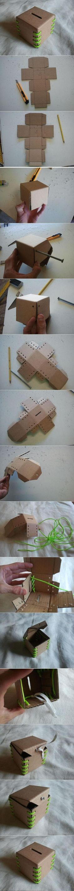 1 carton + 1 lacet = 1 tirelire / DIY Cardboard Lace-Up Bank Easy Crafts, Diy And Crafts, Arts And Crafts, Diy Paper, Paper Crafting, Diy Projects To Try, Craft Projects, Craft Ideas, Diy Ideas