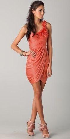 One Shoulder Coral Dress, bridesmaid dress?  Coral Dresses #2dayslook #ramirez701 #CoralDresses  www.2dayslook.com