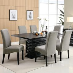 Bass Modern Black Dazzling Wave Design Grey Upholstered Dining Set (1 Table, 6 Chairs), Size 7-Piece Sets