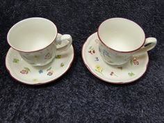 TWO beautiful Johnson Brothers Fleurette Tea Cup Mug Saucers Sets. A very nice Johnson Brothers Pattern.