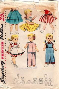 """1950s Doll Clothes Pattern - Vintage Simplicity 4509 - 16"""" Doll Pattern Saucy Walker by ErikawithaK on Etsy"""