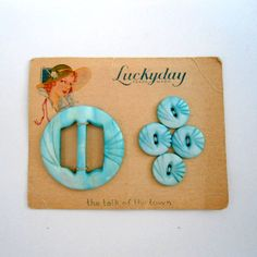 ButtonArtMuseum.com - Vintage Baby Blue Mother of Pearl Buttons and Buckle Set / Button Card.