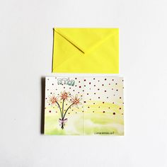 Hebrew toda / thank you card with a colorful envelope by liatib
