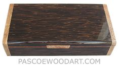 Handmade wood box - Decorative wood keepsake box made of black palm with spalted maple burl ends