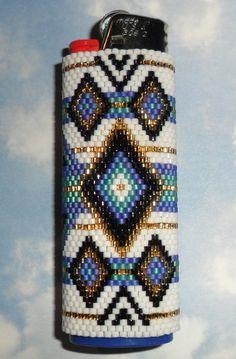 Diamond Weave Beaded Lighter Cover by SoaringHawkTraders on Etsy