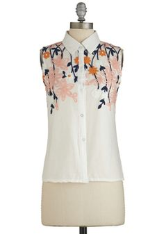 One Vine Day Top. Want a winning alternative to springs floral frocks? #white #modcloth